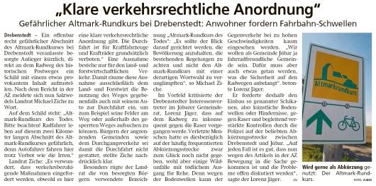 20200919 Altmark Zeitung - Drebenstedt - Abkürzung über den Altmark-Rundkurs (Kai Zuber)