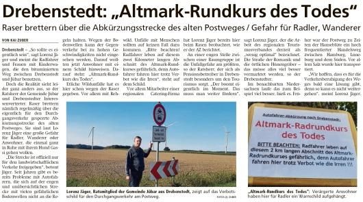 20200910 Altmark Zeitung - Drebenstedt - Abkürzung über den Altmark-Rundkurs (Kai Zuber) Teil 1