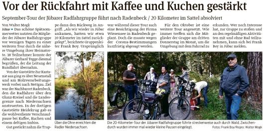 20200924 Volksstimme - Jübar - Radfahrgruppe auf Tour nach Radenbeck (Walter Mogk)