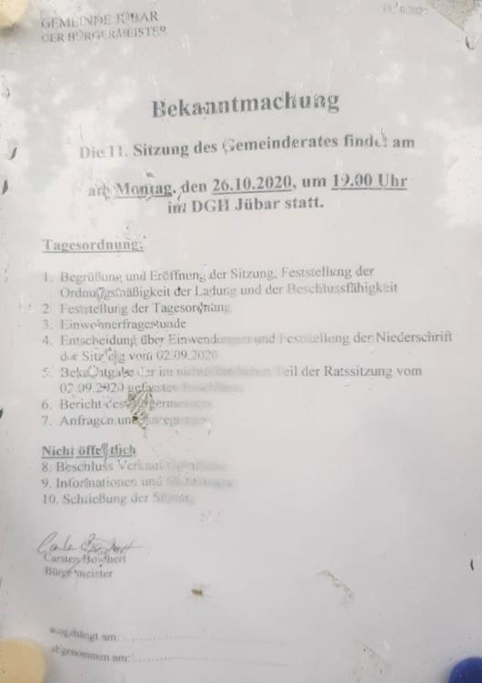 20201026 Bekanntmachung 11. Gemeinderatsitzung