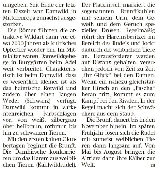 20201110 Altmark Zeitung - Groß Wismar - Weißer Damwild-Schaufler in Brunft (Kai Zuber)