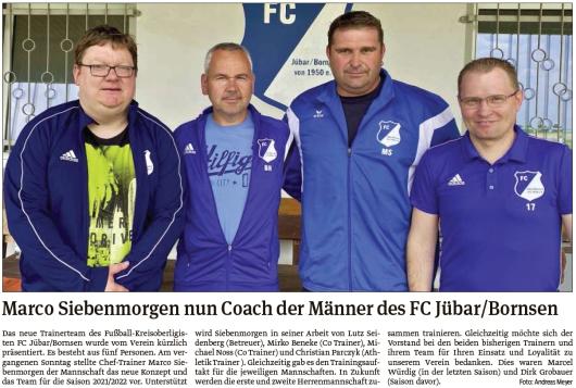 20210602 Volksstimme - Jübar - FCJB-Das neue Trainerteam (Andreas Meyer)