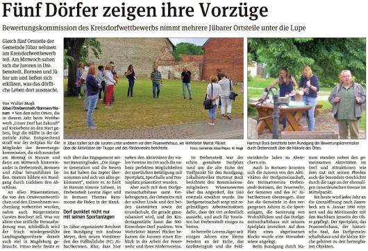 20210626 Volksstimme - Gemeinde Jübar - Bewertungskommission schaut auf fünf Ortsteile (Walter Mogk)