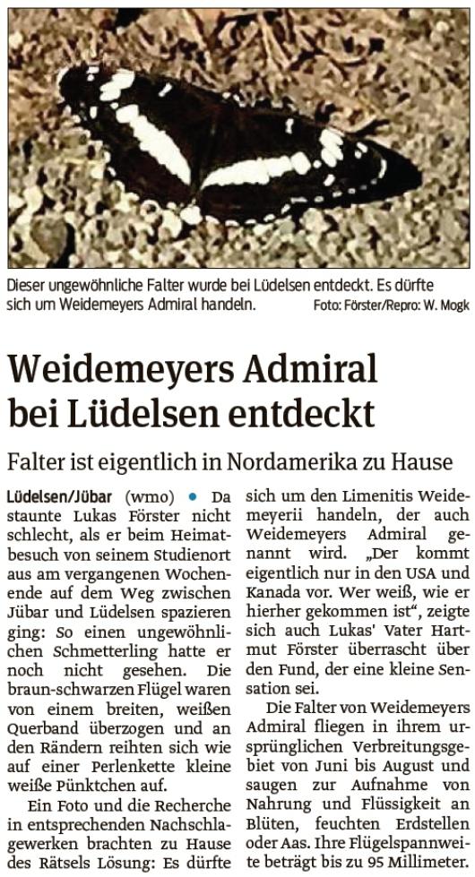 20210702 Volksstimme - Lüdelsen - Nordamerikanischer Admiral entdeckt (Walter Mogk)