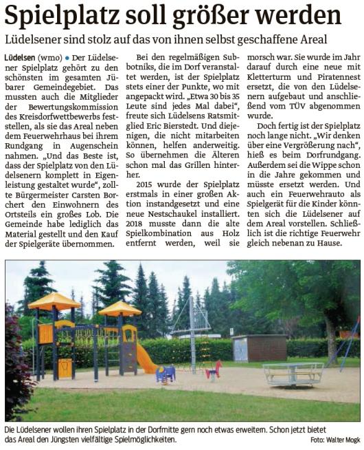 20210702 Volksstimme - Lüdelsen - Spielplatzvergrößerung ist geplant (Walter Mogk)