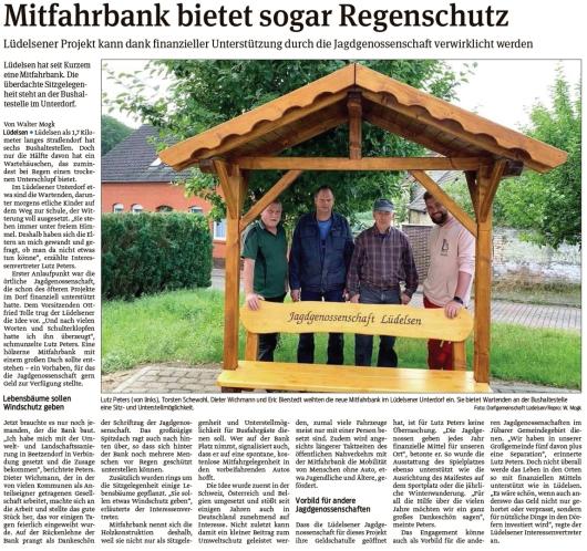 20210709 Volksstimme - Lüdelsen - Mitfahrbank von Jagdgenossen gesponsert (Walter Mogk)