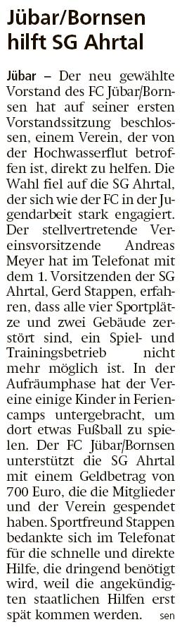 20210729 Altmark Zeitung - Jübar-Bornsen - FCJB hilft SG Ahrtal im Hochwasserflutgebiet (sen)