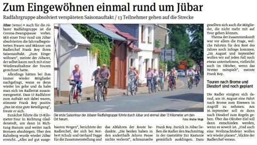 20210721 Volksstimme - Jübar - Radfahrgruppe startet in die Saison (Walter Mogk)