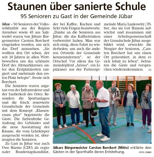 20210906 Altmark Zeitung - Jübar - Volkssolidarität besichtigt Grundschule (Kai Zuber)