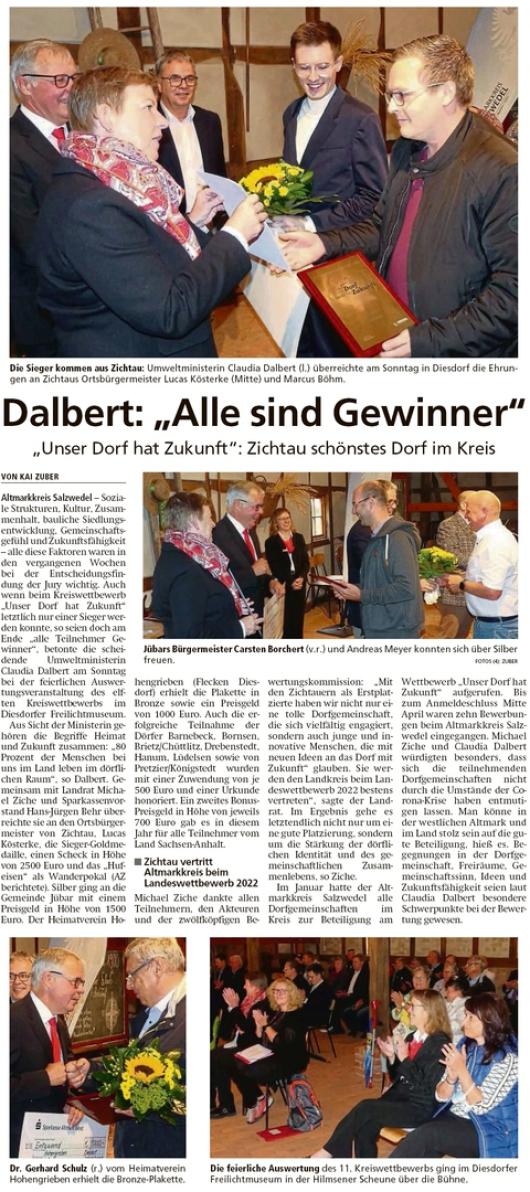 20210831 Altmark Zeitung - Jübar - Unser Dorf hat Zukunft (Kai Zuber)