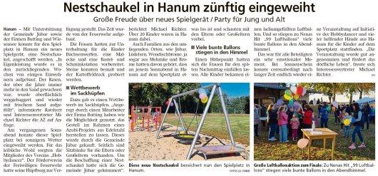 20211015 Altmark Zeitung - Hanum - Nestschaukel eingeweiht (Kai Zuber)