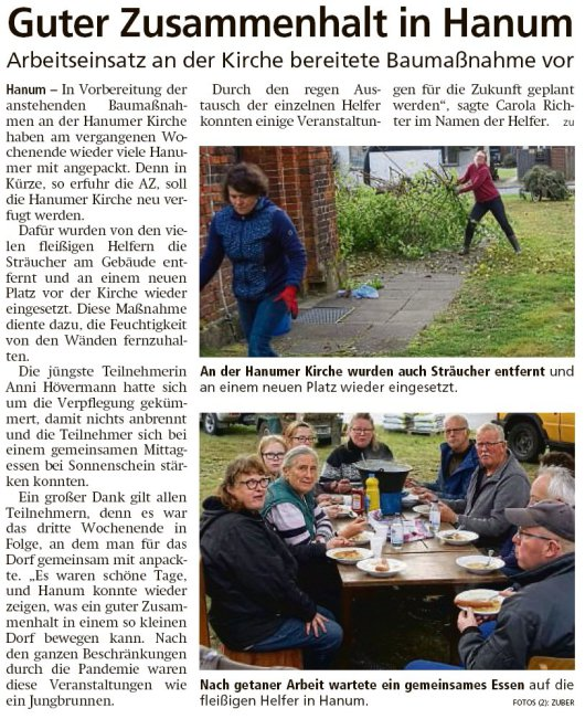 20211021 Altmark Zeitung - Hanum - Arbeitseinsatz an der Kirche (Kai Zuber)